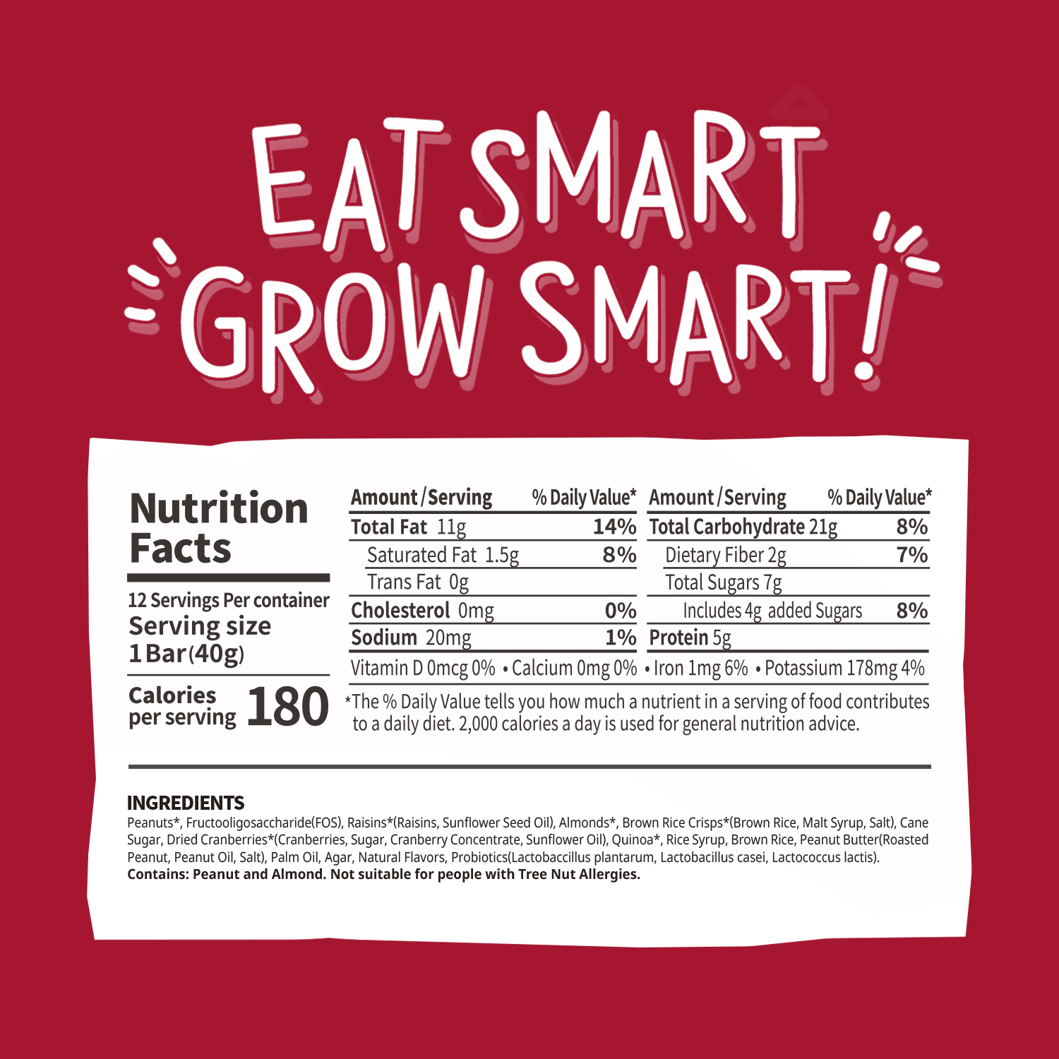smarty grow nutrition bar with Probiotics