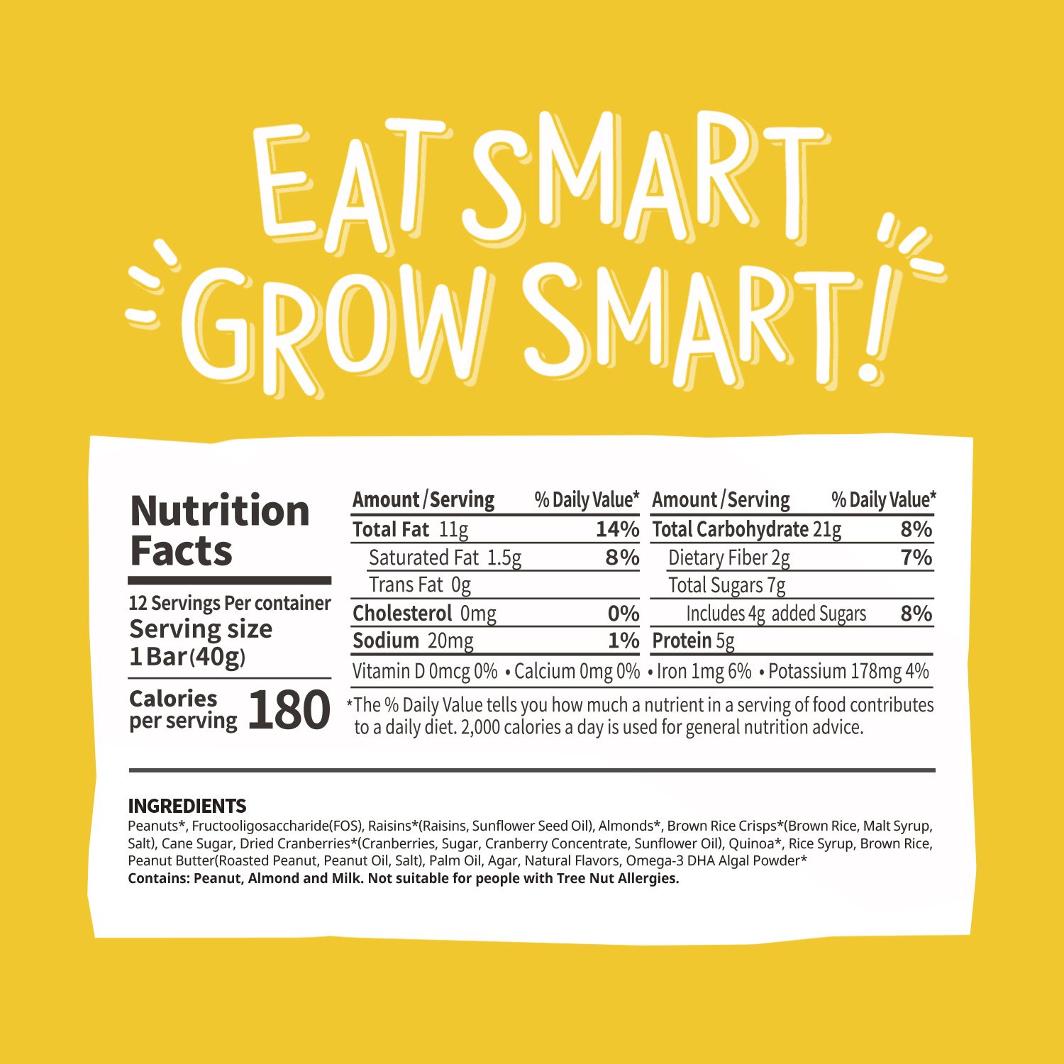 smarty grow nutrition bar with DHA