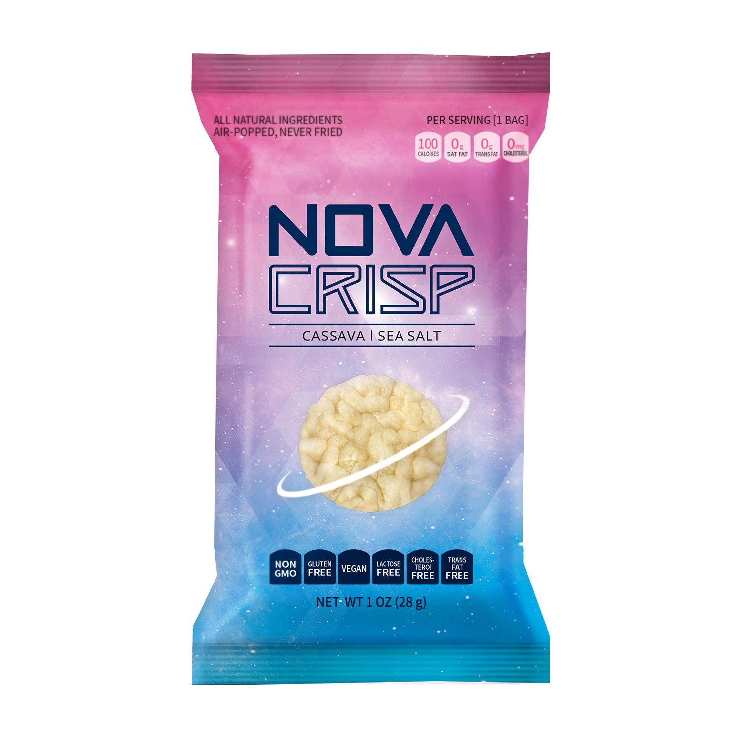 Novacrisp cassava chips sea salt 4oz Grayscale image